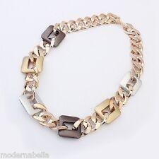 stupenda grande catena Collana acrilica Placata in oro , da donna