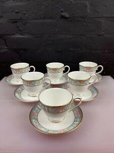 6 x Royal Grafton Sumatra Tea Cups and Saucers Set