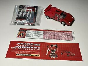 Vintage G1 1985 Transformer Sideswipe Complete with Unused Acc. and Stickers