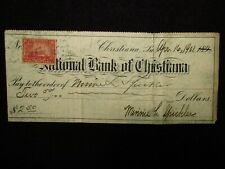 National Bank Of Christiana Check Dated April 16th, 1901