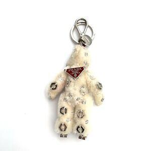 Prada Keyring Bag Charm Key Holder Bear White Silver Logo Authentic