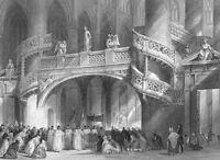 Paris SAINT ETIENNE DU MONTH CHURCH ST Geneviève ~ Old 1865 Art Print Engraving