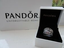 Authentic PANDORA Sterling Silver & Rhodelite Pink Statement Ring 52 190863RHL