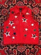Designers Studio Santa Snowman Stars Christmas Sweater Vest PM Not Ugly EUC