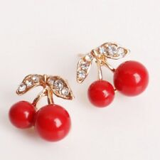 new Cherry Shape J Earrings Crystal Leaf Stud Jewellery for Girls Women Red UK