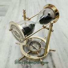 Brass Vintage Sand Timer Hourglass With Wheel Compass Base & Hanging Collectible