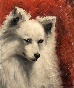 19th Century French School Portrait Of A White Spitz Type Dog