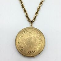 Vintage WEH 14k GF Gold Filled Round Scroll Etched Locket Pendant Necklace 21""