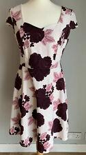 Dorothy Perkins Cream Burgandy Floral Sweetheart Short Skater Dress, Size 14