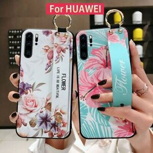 Soft TPU Phone Case Dirt-Resistant Kickstand Wrist Strap Matte Cover For Huawei