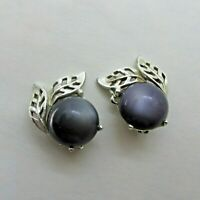 Vintage Luminous Gray Moonglow Lucite Half Dome Clip on Earrings Silver Tone