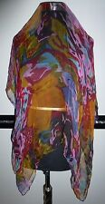 Damen Tuch Stola Schal rot orange rosa schwarz türkis 100 x 100 - NEU