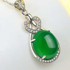 Natural Emerald & Diamond Wedding Pendant Green Silver