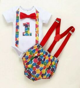 12-18 Boy 1st Birthday Cake Smash Outfit Hungry Caterpillar Bodysuit Suspenders