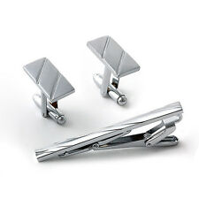 3Pcs Mens Metal Necktie Tie Bar Clasp Clip Cufflinks Set Silver Simple Gifts