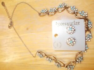 Accessorize Lovely Turquoise/White Necklace and Earrings