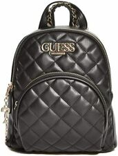 NEW GUESS Women's Black Quilted Small Backpack Handbag Purse Crossbody