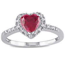 Sterling Silver Created Ruby and 1/10 ct TDW Diamond Heart Ring J-K I3