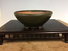 Mame Or Accent Size Bonsai Tree Pot Made By Heian Kosou. Green Glazed 3 1/8""