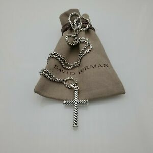 David Yurman Sterling Silver Men's Cable Cross Pendant with 22 in Box Chain