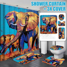 4pcs Elephant Waterproof Shower Curtain+ Pedestal Rug+Toilet Seat Cover+Bath