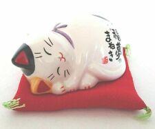 Maneki neko Japanese lucky cat Mino yaki Sleeping Dreaming Made in Japan