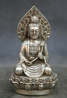 "5.1"" Chinese Buddhism White Bronze Kwan-yin Guan Yin Sit Lotus Flower Statue"