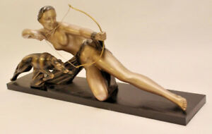HUGE XL ART deco chalkware Hunting lady with whippet greyhound bow wood base