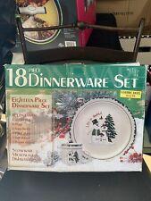 ATICO 1996 Holiday  Christmas Stoneware 18 pcs Let it Snow Dinnerware Set