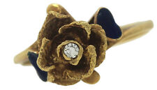 Art Deco Italian 18K Yellow Gold Blue Heart Enamel Flower Diamond Band Ring