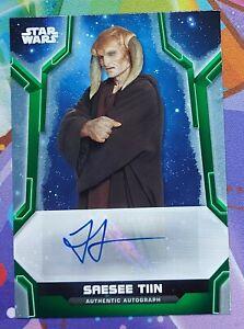 2020 Star Wars Holocron GREEN Autograph JESSE JENSEN as SAESEE TIIN Auto 77/99