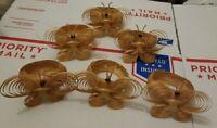 Vtg Rattan Butterfly Napkin Ring Set of 6 Woven Straw Napkin Rings