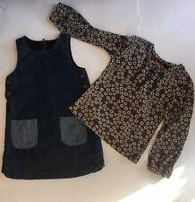 mini bundle denim patch pocket pinafore mexx floral long sleeved top 5-6yrs