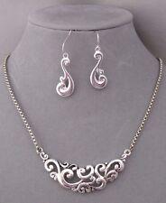 Silver Filigree Flourish Necklace Earrings Set Fashion Jewelry NEW Pretty!