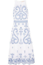 $695 Tory Burch Mariana Blue White Broderie Embroidered Eyelet Midi Dress US 8
