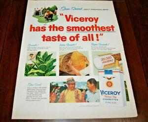 Vintage Print AD Art 1957 Sam Snead PGA Golf Champion & Viceroy Cigarettes 10x13