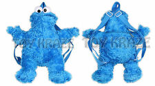 "COOKIE MONSTER PLUSH BACKPACK! SOFT CUDDLE DOLL AUTHENTIC SESAME STREET 13"" NWT"