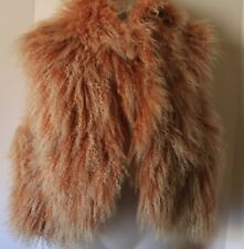 Alice + Olivia Aja Mongolian Sheep Fur Vest Dusty Pink Women's Medium (M) NWT