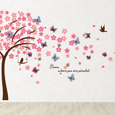 Pink Cherry Tree and Blue 3D Butterflies Wall Stickers Kitchen Home Decals