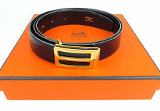 Authentic Hermes Goldtone Rectangle Buckle Black Leather Men's Belt Size 95 / 37