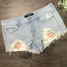 EXPRESS size 8 relaxed low rise shortie denim shorts