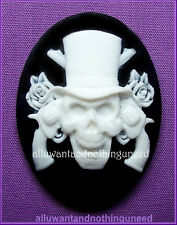 2 Goth Punk Halloween White on Black SKULL w/ GUNS and ROSES 40mm x 30mm CAMEOS