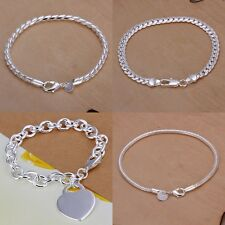 Women Lady Men 925 Sterling Silver Plated Bracelet -Perfect Gift