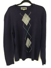 Men's Argyle Sweater Medium INC International Concepts Crew Neck Black