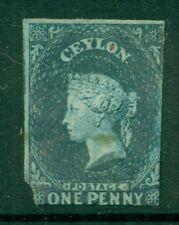 CEYLON 1 SG2b Used 1857 1p blue QVIC Wmk Star Imperf Blued Paper Cat$240