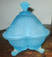 Beautiful Unusual Design Satin Glass Blue Roses Vintage Covered Footed Dish