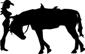 COWGIRL HORSE HAT PONY TAIL    LEFT OR RIGHT  VINYL DECAL STICKER 4621