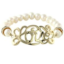 NEW Ornate Love Script & Cultured Freshwater Pearl Stretch Bracelet in Goldtone