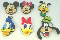 "1.5"" x6 Mickey Mouse Donald Goofy Minnie Disney Channel PVC Keychain Lot USA"