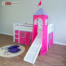 Hochbett Spielbett Kinderbett mit Rutsche Turm Vorhang rot 90x200 Jugendbett